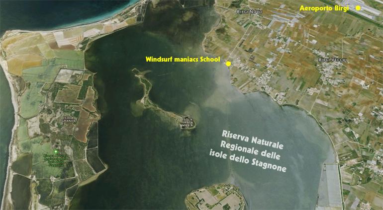 windsurf maniacs school stagnone mappa